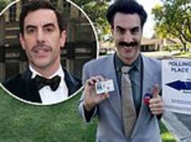 sacha baron cohen dresses as borat and claims 'great success' after voting in us midterms