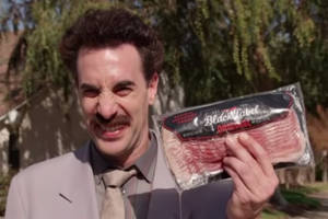 borat tried to stop jews from voting in the midterm elections using bacon (video)