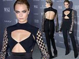 cara delevingne is blonde bombshell in backless outfit featuring torso cutouts at innovator awards
