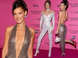 bella and gigi hadid dazzle in glittering outfits on pink carpet at victoria's secret fashion show