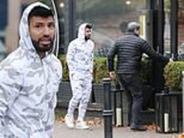 sergio aguero wears white camouflage tracksuit as he dines out