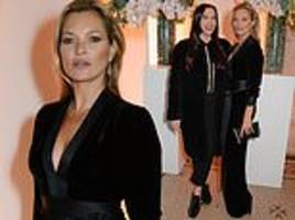 kate moss, 44, showcases her fantastic supermodel figure at star-studded british vogue event