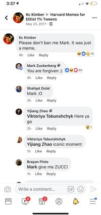 mark zuckerberg joined a private facebook group for harvard memes and group members are loving it (fb)