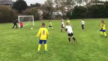 Under eight keeper makes save - thanks to his pushy parent