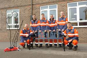 remembrance bench made by british steel apprentices is presented to scunthorpe school