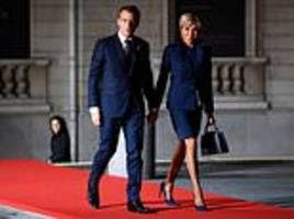 Angela Merkel, Emmanuel Macron and Justin Trudeau arrive at Paris' Orsay Museum for Armistice Day