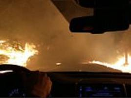 Shocking dashcam video shows family's desperate drive through California wild fires