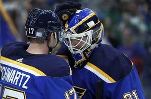 Johnson earns first shutout in nearly two years as Blues defeat Sharks 4-0