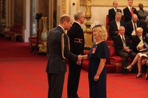 institute principal receives her obe from prince william with dame emma thompson