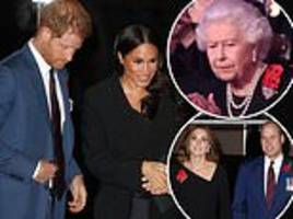 prince harry and meghan arrive with senior royals for festival of remembrance at royal albert