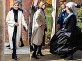 sophie wessex is greeted by a woman dressed as queen victoria