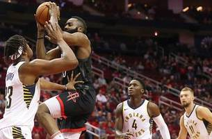pacers with no answers for harden's 40-point night, fall 115-103 to rockets
