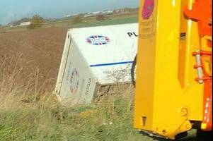 Lorry overturns on A16 near Boston in same place as fatal crash