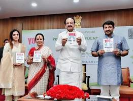 the book 'yoga and mindfulness' by author mansi gulati is recently released by shri venkaiah naidu, hon'ble vice president of india