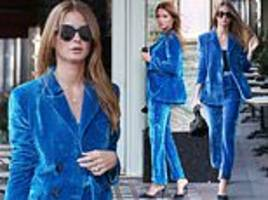 millie mackintosh turns heads in a bright blue velvet trouser suit as she heads out to lunch