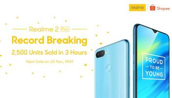 record breaking: realme 2 pro was the best-selling item on the shopee 11.11 big sale! 2,500 units sold out in 3 hours!