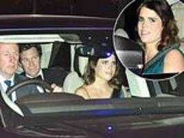 eugenie's new husband takes backseat as they arrive at charles' party