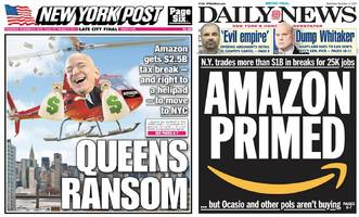 new york city's top tabloids have weighed in on amazon hq2 — and they're leaning into the controversy
