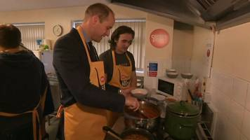 duke and duchess of cambridge prepare lunch for barnsley homeless charity