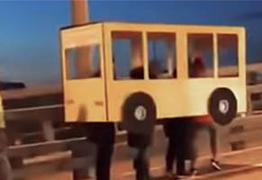 russians try to sneak past bridge disguised as bus