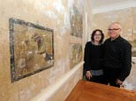 couple replastering their house find pre-first world war paintings hiding behind the wallpaper