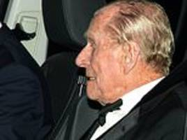prince philip, 97, spotted leaving birthday celebrations for prince charles