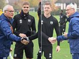 claudio ranieri greets fulham squad and takes first training session