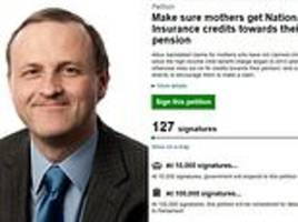 steve webb launches petition to win back state pension credits for mums