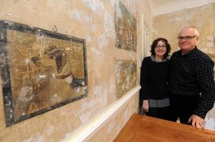 see the 'fantastic pre-first world war' paintings discovered behind wallpaper in guildford house
