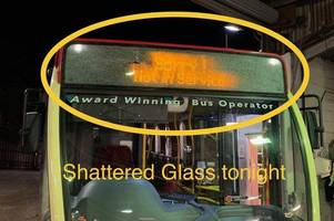 'substantial damage' caused to safeguard bus after stones thrown from guildford bridge