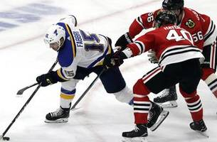 blues' offense disappears, hawks get fluky goal as st. louis falls 1-0