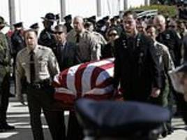 funeral for hero police officer who stormed california bar shooting