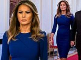 melania trump dons a royal blue $1,140 roland mouret frock to attend medal of freedom ceremony
