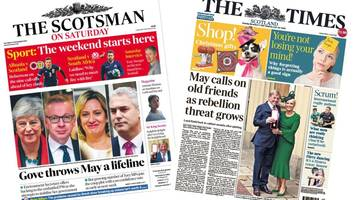 Scotland's papers: Theresa May brings in old friends as threat of rebellion grows