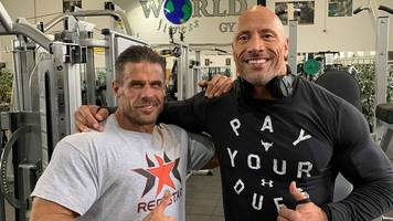 Dwayne 'The Rock' Johnson works out at Doncaster gym