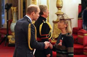 popular sutton coldfield teacher sue bailey from the arthur terry school receives mbe from prince william