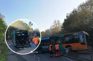 'unattended' cardiff bus crashes on busy road