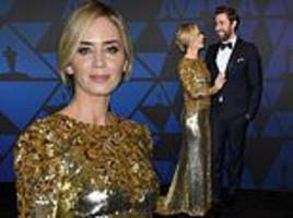 emily blunt is statuesque in gold sequin gown as she and john krasinski attend the governors awards