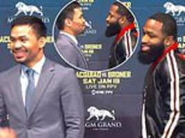 manny pacquiao gets the giggles during first face-off with next opponent adrian broner