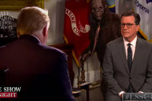 stephen colbert (and bigfoot) hijack chris wallace's president trump interview (video)