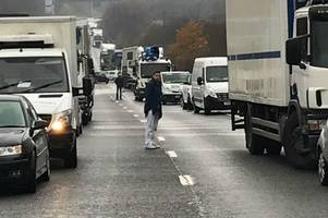 Highways England say the A20 London bound is expected to remain closed throughout rush hour after a multi-vehicle crash