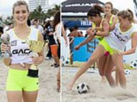 Tennis star Eugenie Bouchard shows off her football skills on the beach