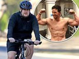 james corden works up a sweat during cycling session after being inspired by mark wahlberg