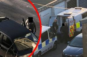 police swarm car in lane as man arrested for money laundering in 'dramatic scenes'