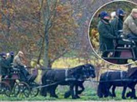 prince philip, 97, takes the reins during his regular carriage ride through windsor great park