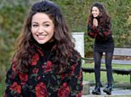 michelle keegan braves the cold to show off her cool grunge outfit while filming brassic
