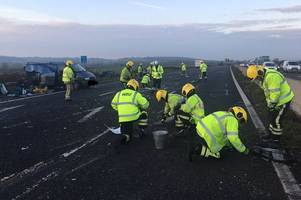 m4 crash sends thousands of nails across carriageway and closes stretch of motorway