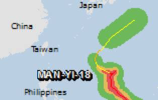 green alert for tropical cyclone man-yi-18. population affected by category 1 (120 km/h) wind speeds or higher is 0.