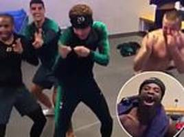 tottenham's alli taunts team-mate aurier with dancing celebration after beating him at uno