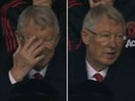 sir alex ferguson caught chuckling as manchester united concede second goal in saints draw